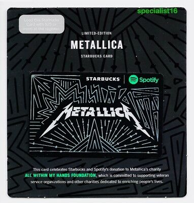 2017 Starbucks Metallica Limited Edition Spotify Collaboration Gift Card New