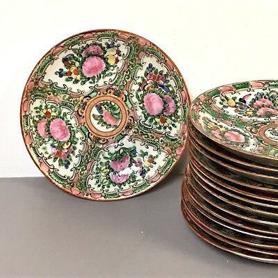 Set of 14 Chinese Porcelain Rose Medallion Saucers Bread Plates