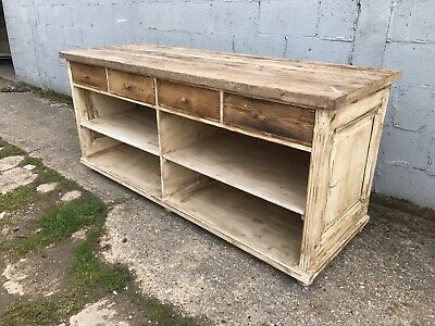 200cm Long, Antique, Oak, French Farmhouse Kitchen Counter, Vintage, Display