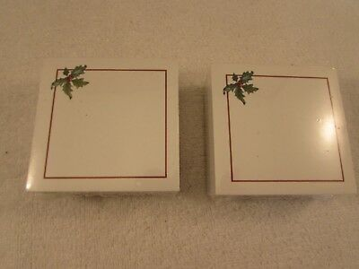 New Longaberger Christmas Holiday Holly Post It Note Pads  Set of 2