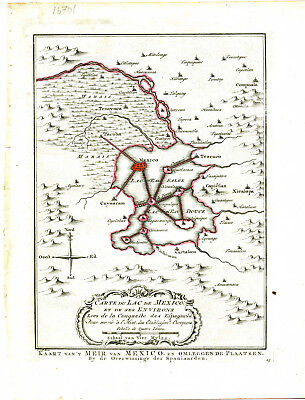 1756 Genuine Antique map Mexico City . Harrevelt