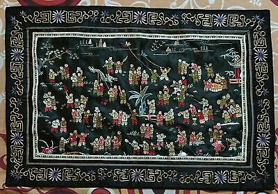 """Antique Chinese Hand Embroidery  Wall Hanging Scenery Penal 17"""" By 25"""""""