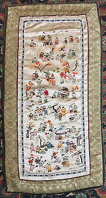 """Antique Chinese Hand Embroidery Wall Hanging Scenery Panel 13"""" By 26"""""""