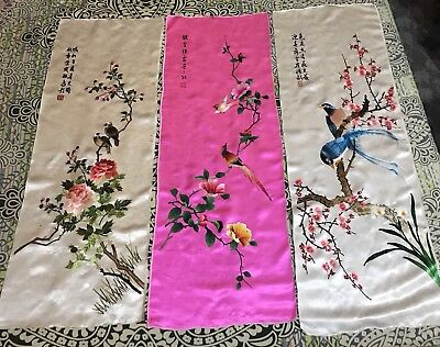 """3 Antique Chinese Qing Dynasty Hand Embroidery Panel Wall Hanging 14"""" X41"""" Each"""