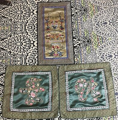 3 Antique Chinese Qing Dynasty Hand Embroidery Panel Wall Hanging+ Cushion