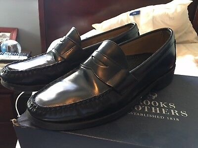 7b598dc40b4 BROOKS BROTHERS MEN S Black Leather Penny Loafers Shoes Size 8.5D ...