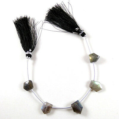 Natural Fire Labradorite Fancy Faceted Beads 10x12mm Faceted 7'' Long Briolette.