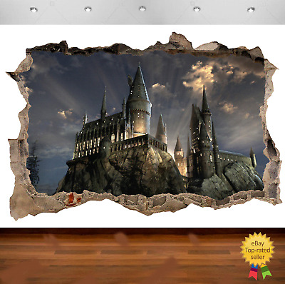 Harry Potter Hogwarts Castle 3d Smashed Wall View Sticker Art Poster Vinyl  680