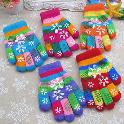 12 -60pair Boy Girl Toddler Kids knit Warm Snow Snowflake Winter Gloves Xmas Lot