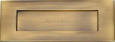 Heritage Brass Letterbox Flap Antique Brass Style with Matching Door Knocker