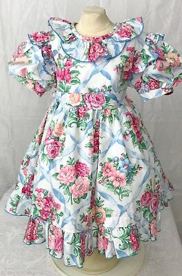 VTG Sylvia Whyte Girl Sz 2T Beautiful Floral Dress Puff Sleeves EUC