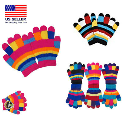 12 -60 Boy's Girl Toddler Kids Children knit Warm Snow Striped Winter Gloves Lot