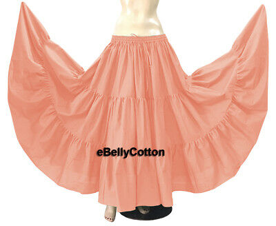 9b649755979 Pink Skirt 10 Yard 3 Tiered maxi Cotton Gypsy Belly Dance Tribal Flamenco  Jupe