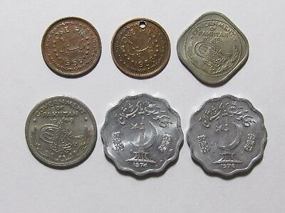 Lot of 6 Different Old Pakistan Coins - 1949 to 1976 - Circulated