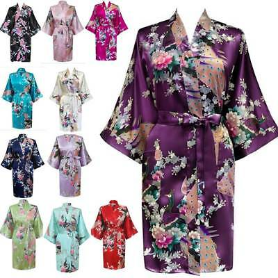 Satin Robe Peacock Floral Wedding Bridesmaid Robes Kimono Bride Women New Gown