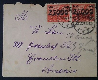 RARE 1923 Poland Cover ties 2 stamps w Hyperinflation surcharges canc Grudziadz