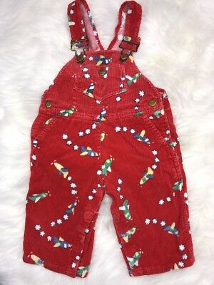 Vintage Hush Puppies Baby Boy Overalls 12 Months 12M Red Corduroy Air Plane