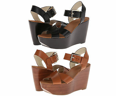 104f729b7aa0 Michael Kors Womens Peggy Wedge Black or Brown Ankle Strap Platform Sandals