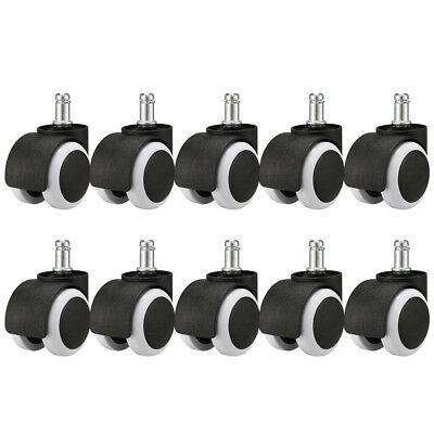 """Set of 10 x Office Chair Caster Wheels Swivel Replacement 7/16"""" x 7/8"""" Grip Ring"""