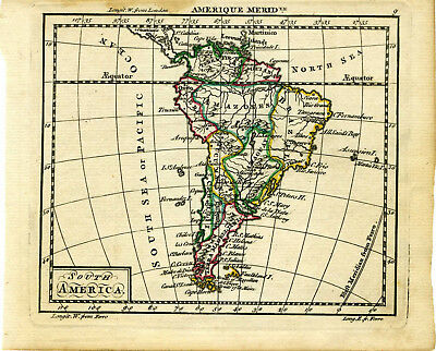 1761 Genuine Antique miniature hand colored map South America. by A. Dury