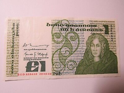 Old Ireland Paper Money Currency - #70b 1980 1 Pound Punt - Nice Circulated
