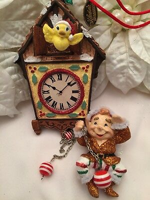 """Katherine's Collection Christmas Ornament Elf Hanging From Cuckoo Clock 10"""""""