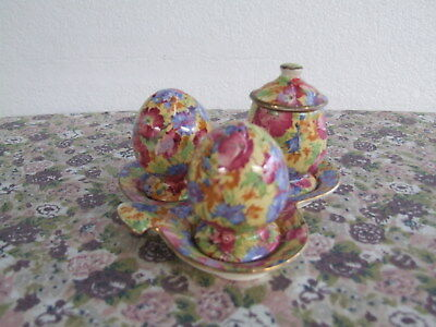 Royal Winton Grimwades Royalty Chintz   Cruet Set Clover Leaf Shape  1930S