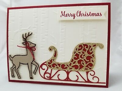 Lot of 6 Reindeer and Sleigh Merry Christmas cards made w/Stampin' Up! supplies