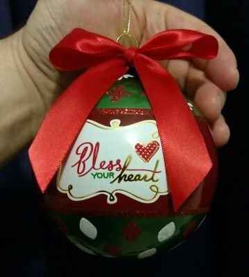 Bless Your Heart Christmas Ornament, Glass - Southern Belle