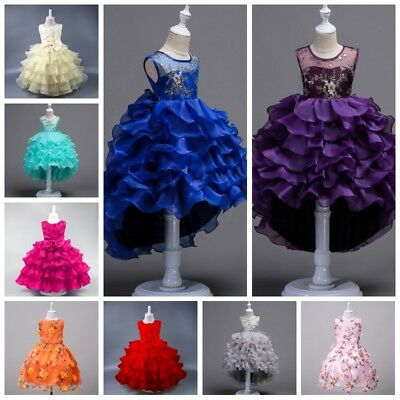 Kids Girl Flower Tutu Dress Princess Birthday Bridesmaid Pageant Formal Dress AU