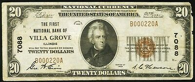 1929 $20 The First National Bank of Villa Grove IL SN#B000220A Ch. #7088 Rare!