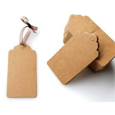 50pcs BLANK Brown Kraft Paper Hang Tags String Punch Label Price Cards Gift