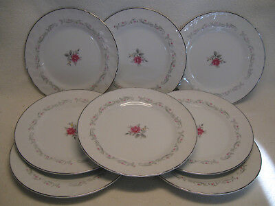 "Fine China of Japan Royal Swirl (8) 7 1/2"" Salad Plates VGUC"