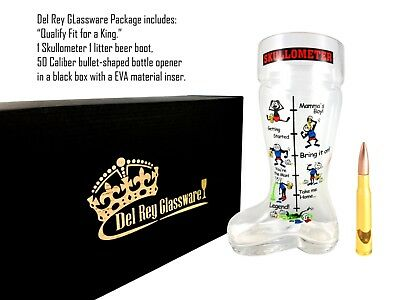 Unique Beer Boot 1 Lts and 50 caliber bullet bottle opener in a black gift-box