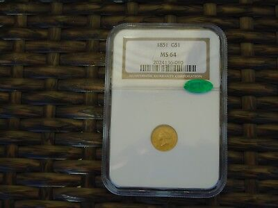 1851 $1.00 Gold Coin NGC Graded MS 64 CAC