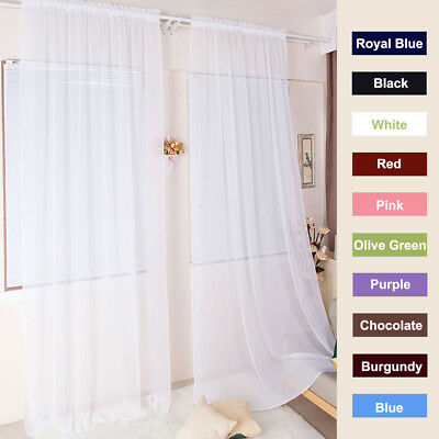 "1Pc Sheer Voile Window Panel curtains DRAPE 72"" 79"" 84"" 90"" 91"" Long Rod Pocket"