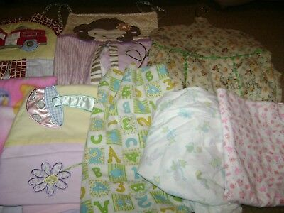 Baby Nursery Lot...Diaper Stackers/Sheets/Blankets/Valance...Set of 10