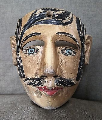 Antique Mexican Dance Mask. Catrin Mask. Mexican Folk Art.