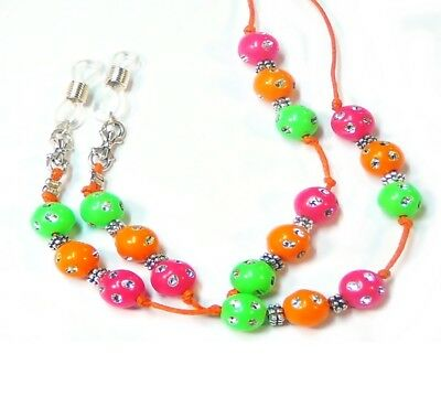 Reading eye glasses cord, spectacle holder lanyard Orange Lime Pink