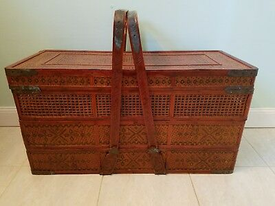 19c Authentic Asian 3 Tier Chinese Bamboo, Rattan & Wrought Iron Wedding Basket