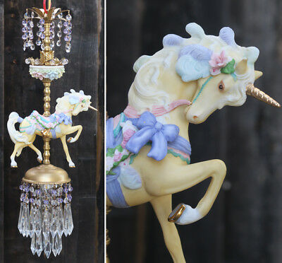 Porcelain Carousel Unicorn ROSE Lamp ceiling Chandelier Vintage Horse Crystal