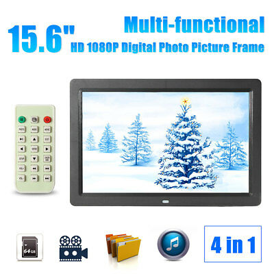 12'' HD LED Digital Photo Frame Picture Alarm Clock MP4 Movie Player FAST POST