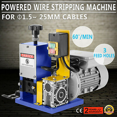 220V Powered Electric     Wire Stripping Machine Peeling 1.5-25mm 55-60 feet/Min