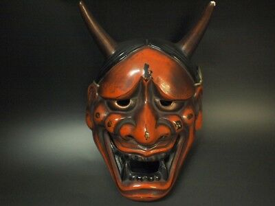 Japanese Antique Hanny Mask Lacquer Demon b1113