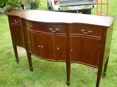 antique 1900s curved front dining dresser 3 drawers 6 shaped doors and top
