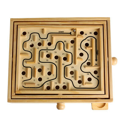 Kids Wooden Puzzle Toy Intelligence Game Classic Labyrinth Balance Board Toys