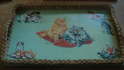 Vintage Serving Tray Cats At Play, Woven handles  Plastic retro and kitsch 1950s