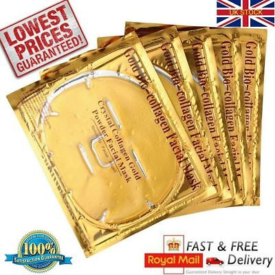 10 x Gold Collagen Bi- Crystal Mask for Face Facial Eye Anti Ageing Masks UK