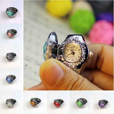 Men Women Ring Watches Clamshell Steel 3D Flower Elastic Finger Dail Quartz