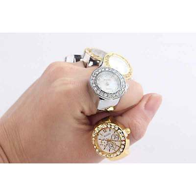 Unisex Men Women Steel Rhinestone Elastic Finger Ring Analog Quartz Watch